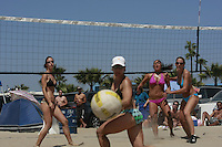 Saturday, May 3 2008, Ocean Beach, California, USA.  West Coast Beach Volleyball Tournament Amber Schaffer, Diane Johansen, Esther Kim and Maygan Fowler watch as a ball heads towards the line during play at the West Coast Volleyball Tournament.