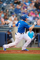 Tulsa Drillers first baseman Wynston Sawyer (6) follows through on a swing during a game against the Corpus Christi Hooks on June 3, 2017 at ONEOK Field in Tulsa, Oklahoma.  Corpus Christi defeated Tulsa 5-3.  (Mike Janes/Four Seam Images)