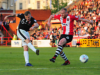 Lincoln City's Harry Anderson vies for possession with Exeter City's Robbie Simpson<br /> <br /> Photographer Chris Vaughan/CameraSport<br /> <br /> The EFL Sky Bet League Two Play Off Second Leg - Exeter City v Lincoln City - Thursday 17th May 2018 - St James Park - Exeter<br /> <br /> World Copyright &copy; 2018 CameraSport. All rights reserved. 43 Linden Ave. Countesthorpe. Leicester. England. LE8 5PG - Tel: +44 (0) 116 277 4147 - admin@camerasport.com - www.camerasport.com