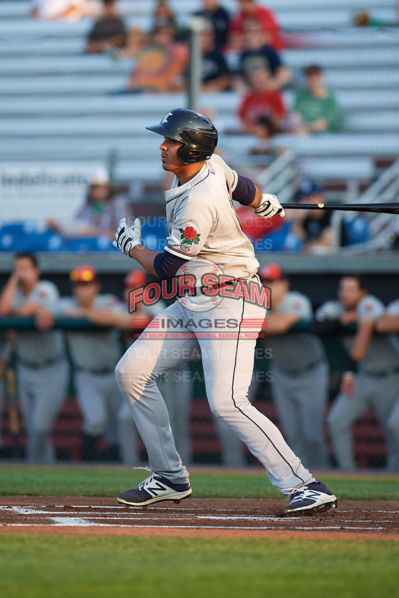 Connecticut Tigers first baseman Reynaldo Rivera (44) hits a single in the top of the first inning during a game against the Auburn Doubledays on August 10, 2017 at Falcon Park in Auburn, New York.  Connecticut defeated Auburn 4-1.  (Mike Janes/Four Seam Images)