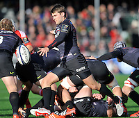 Hendon, England. Richard Wigglesworth of Saracens in action during the European Rugby Champions Cup match between Saracens and Munster at Allianz Park stadium on January 17, 2015 in Hendon, England.