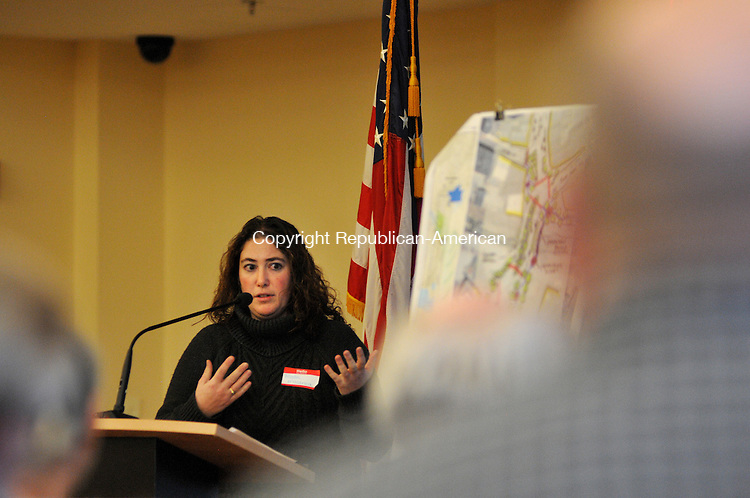TORRINGTON, CT, 22 JAN 15 - Rista Malanca, city zoning officer, speaks to participants of Torrington Walks, a one-day design workshop at City Hall Thursday.   Alec Johnson/ Republican-American