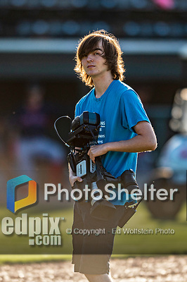 24 August 2019: Vermont Lake Monsters Videographer prepares to cover events of a game against the Lowell Spinners at Centennial Field in Burlington, Vermont. The Lake Monsters fell to the Spinners 3-2 in NY Penn League action. Mandatory Credit: Ed Wolfstein Photo *** RAW (NEF) Image File Available ***
