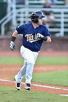Elizabethton Twins designated hitter Mitchell Kranson (9) runs to first base during game against the Burlington Royals at Joe O'Brien Field on August 24, 2016 in Elizabethton, Tennessee. The Royals defeated the Twins 8-3. (Tony Farlow/Four Seam Images)