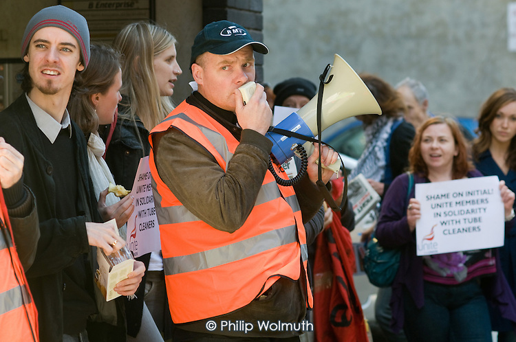Steve Hedley, Regional Organiser for the London Transport Region, speaks at an RMT picket of London offices of Initial Rentokil over exploitation of tube cleaners and misuse of immigration authorities to intimidate contract workers.