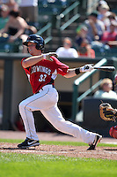 Rochester Red Wings catcher Danny Lehmann during a game vs. the Pawtucket Red Sox at Frontier Field in Rochester, New York;  August 29, 2010.   Rochester defeated Pawtucket 6-3.  Photo By Mike Janes/Four Seam Images