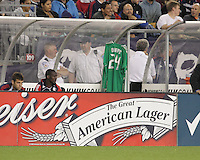 Preston Burpo jersey hangs on the bench after Preston Burpo suffered a lower right leg fracture. The New England Revolution defeated the New York Red Bulls, 3-2, at Gillette Stadium on May 29, 2010.