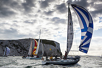 20130601  Copyright onEdition 2013©<br /> Free for editorial use image, please credit: onEdition<br /> <br /> Gualin pass the Needles today at the J.P. Morgan Asset Management Round the Island Race.<br /> <br /> The J.P. Morgan Asset Management Round the Island Race (Saturday 1st June) is the 4th largest participation sporting event in the UK and the largest yacht race of its kind in the world. Organised by the Island Sailing Club in Cowes, it is dubbed 'Britain's favourite yacht race', attracting anything between 1,500 - 1,800 yachts and 16,000 competitors. www.roundtheisland.org.uk<br /> For media enquires, please contact Dan Wilkinson at Into the Blue on +44 (0)1983 203529 or email Dan.Wilkinson@intotheblue.biz<br /> <br /> <br /> This image has been supplied by onEdition and must be credited onEdition. The author is asserting his full Moral rights in relation to the publication of this image. Rights for onward transmission of any image or file is not granted or implied. Changing or deleting Copyright information is illegal as specified in the Copyright, Design and Patents Act 1988. If you are in any way unsure of your right to publish this image please contact onEdition on 0845 900 2 900 or email info@onEdition.com