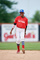 Anyelo Encarnacion (4) during the Dominican Prospect League Elite Underclass International Series, powered by Baseball Factory, on July 21, 2018 at Schaumburg Boomers Stadium in Schaumburg, Illinois.  (Mike Janes/Four Seam Images)