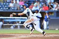 Asheville Tourists Johnny Cresto (17) swings at a pitch during a game against the Charleston RiverDogs at McCormick Field on August 16, 2019 in Asheville, North Carolina. The Tourists defeated the RiverDogs 12-3. (Tony Farlow/Four Seam Images)