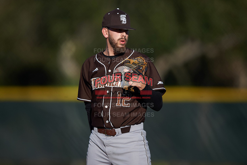 St. Bonaventure Bonnies relief pitcher Roman Wild (12) looks in for the sign during a game against the Dartmouth Big Green on February 25, 2017 at North Charlotte Regional Park in Port Charlotte, Florida.  St. Bonaventure defeated Dartmouth 8-7.  (Mike Janes/Four Seam Images)