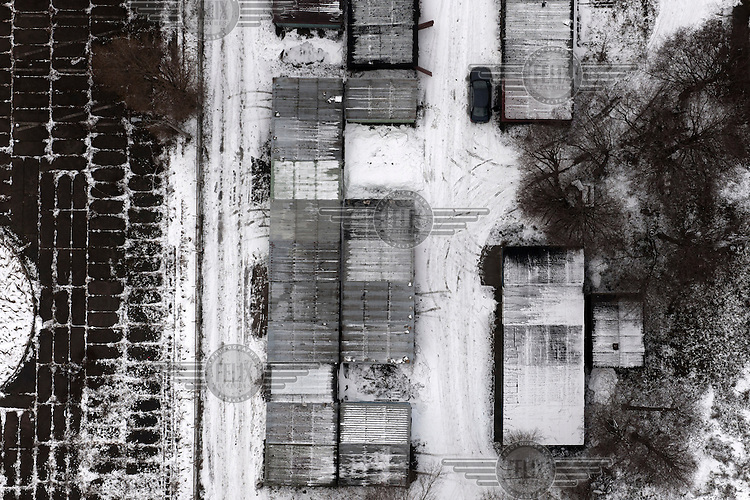Snow covered garages in a suburb of Gdansk.