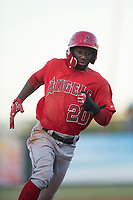 AZL Angels center fielder D'Shawn Knowles (20) hustles to third base before scoring a run during an Arizona League game against the AZL Athletics at Tempe Diablo Stadium on June 26, 2018 in Tempe, Arizona. The AZL Athletics defeated the AZL Angels 7-1. (Zachary Lucy/Four Seam Images)