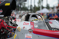 Mar. 9, 2012; Gainesville, FL, USA; NHRA top alcohol dragster driver Dan Page during qualifying for the Gatornationals at Auto Plus Raceway at Gainesville. Mandatory Credit: Mark J. Rebilas-