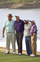 160211 Connecticut's JJ Henry with ESPN Icon Chris Berman and Colt Knost with partner Finley Ewing during Thursday's First Round at The AT&T National Pro Am at The Pebble BEACH GOLF LINKS in Carmel, California. (photo credit : kenneth e. dennis/kendennisphoto.com)