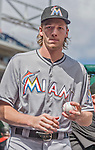 20 September 2015: Miami Marlins pitching prospect Adam Conley walks the dugout prior to a game against the Washington Nationals at Nationals Park in Washington, DC. The Marlins fell to the Nationals 13-3 in the final game of their 4-game series. Mandatory Credit: Ed Wolfstein Photo *** RAW (NEF) Image File Available ***