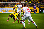 11.05.2019, Signal Iduna Park, Dortmund, GER, 1.FBL, Borussia Dortmund vs Fortuna D&uuml;sseldorf, DFL REGULATIONS PROHIBIT ANY USE OF PHOTOGRAPHS AS IMAGE SEQUENCES AND/OR QUASI-VIDEO<br /> <br /> im Bild | picture shows:<br /> Zweikampf zwischen Andre Hoffmann (Fortuna #3) und Mario Goetze (Borussia Dortmund #10), <br /> <br /> Foto &copy; nordphoto / Rauch