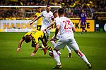 11.05.2019, Signal Iduna Park, Dortmund, GER, 1.FBL, Borussia Dortmund vs Fortuna Düsseldorf, DFL REGULATIONS PROHIBIT ANY USE OF PHOTOGRAPHS AS IMAGE SEQUENCES AND/OR QUASI-VIDEO<br /> <br /> im Bild | picture shows:<br /> Zweikampf zwischen Andre Hoffmann (Fortuna #3) und Mario Goetze (Borussia Dortmund #10), <br /> <br /> Foto © nordphoto / Rauch