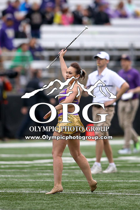 03 September 2016:  Washington baton twirler Krissy Terwilliger entertained fans before the game against Rutgers.  Washington defeated Rutgers 48-13 at the University of Washington in Seattle, WA.