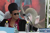 RIO DE JANEIRO, RJ, 17.03.2014 - Carlinhos Brown  participa nesta segunda-feira na coletiva de imprensa que apresenta o lançamento do filme de animação Rio 2, no Parque Lage, zona sul da cidade. (Foto. Néstor J. Beremblum / Brazil Photo Press)