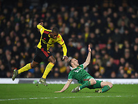1st January 2020; Vicarage Road, Watford, Hertfordshire, England; English Premier League Football, Watford versus Wolverhampton Wanderers; Christian Kabasele of Watford fouls Ruben Neves of Wolverhampton Wanderers and after a VAR review receives a red card for the challenge - Strictly Editorial Use Only. No use with unauthorized audio, video, data, fixture lists, club/league logos or 'live' services. Online in-match use limited to 120 images, no video emulation. No use in betting, games or single club/league/player publications