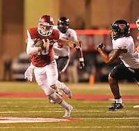 NWA Democrat-Gazette/MICHAEL WOODS • @NWAMICHAELW<br /> University of Arkansas Quarterback Brandon Allen is tackled by Texas Tech defender Dakota Allen as he runs the ball in the 3rd quarter of Saturday nights game against the Razorbacks at Razorback Stadium in Fayetteville.