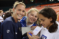 United States defender Christie Rampone (3) signs autographs for fans after the game. The women's national team of the United States defeated Canada 6-0 during an international friendly at Robert F. Kennedy Memorial Stadium in Washington, D. C., on May 10, 2008.