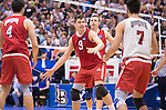 07 MAY 2016: Nicolas Szerszen (9) of Ohio State University celebrates after a winning point against Brigham Young University during the Division I Men's Volleyball Championship held at Rec Hall on the Penn State University campus in University Park, PA.  Ohio State defeated BYU 3-1 for the national title.  Ben Solomon/NCAA Photos