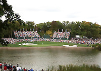 28 SEP 12  The 17th green from across the lake during Fridays foresome and four ball matches  at The 39th Ryder Cup at The Medinah Country Club in Medinah, Illinois.