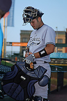 Scranton Wilkes-Barre Yankees catcher Jesus Montero (45) signs autographs before a game vs. the Rochester Red Wings at Frontier Field in Rochester, New York;  July 5, 2010.   Scranton defeated Rochester 9-5.  Photo By Mike Janes/Four Seam Images