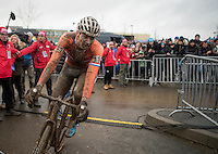 An emotional and disapointed Mathieu Van der Poel (NED/Beobank-Corendon) rides straight through without stopping in the post-finish area<br /> <br /> Elite Men's Race<br /> UCI 2017 Cyclocross World Championships<br /> <br /> january 2017, Bieles/Luxemburg