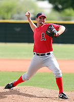 Brian Diemer #95 of the Los Angeles Angels plays in a minor league spring training game against the Chicago Cubs at the Angels minor league complex on April 3, 2011  in Tempe, Arizona. .Photo by:  Bill Mitchell/Four Seam Images.