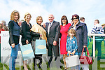 The best.dressed lady and man at the point to point in Ballybunion on the 10th.of April with the North Kerry Harriers..L-R Bernadette.Hanrahan, Kathleen Lacey (Ballybunion Fashions), Mary Kearney (Tralee,.Winner), Dr Joe Arthurs (Ballymcelligott winner), Nora Keogh, Joanne.Kelly Walsh ( Destination Ballybunion), Kelly Ann Walsh.