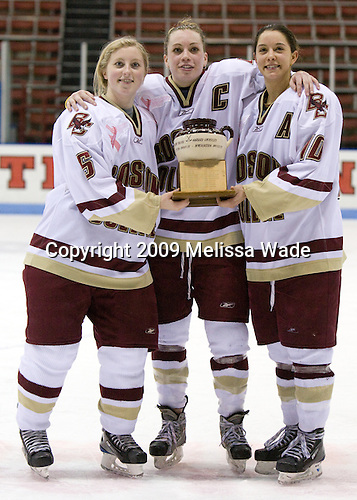 Tracy Johnson (Boston College - 5), Colleen Harris (Boston College - 11), Maggie Taverna (Boston College - 10) - The Boston College Eagles defeated the Harvard University Crimson 1-0 to win the Beanpot on Tuesday, February 10, 2009, at Matthews Arena in Boston, Massachusetts.