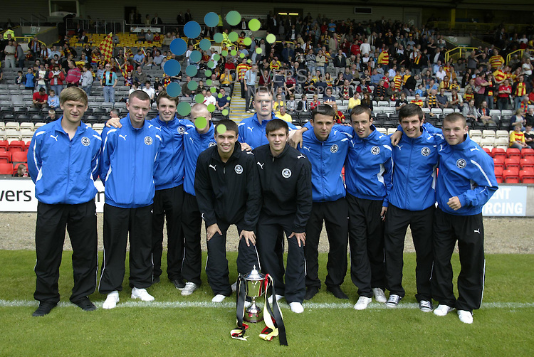 Partick Thistle v Dundee.Irn Bru 1st Division at Firhill Stadium..Saturday 14th Aug.  Score.The Vicorious U19 Thistle Squad which won the Scottish Youth cup Parade the Trophy before the game..www.universalnewsandsport.com.(0ffice) 0844 884 51 22.