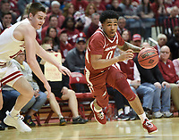 NWA Democrat-Gazette/CHARLIE KAIJO Arkansas Razorbacks guard Desi Sills (0) dribbles during the first half of the NCAA National Invitation Tournament, Saturday, March 23, 2019 at the Simon Skjodt Assembly Hall at the University of Indiana in Bloomington, Ind. The Arkansas Razorbacks fell to the Indiana Hoosiers 63-60.