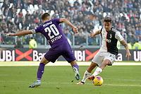 2nd February 2020; Allianz Stadium, Turin, Italy; Serie A Football, Juventus versus Fiorentina; Paulo Dybala of Juventus turns on the inside of German Pezzella of Fiorentina