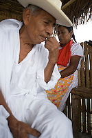 Don Juan Zimbron President of Elders of Ttonacapan the at a traditional Totonaca spiritual cleansing ceremony at the artisanal and cultural center in El Tajin Veracruz, Mexico. April 5, 2008