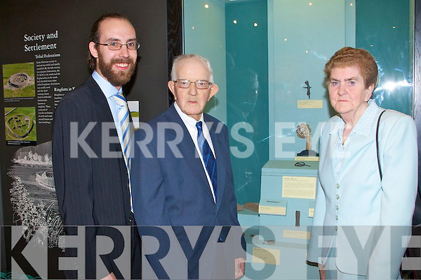 BROOCH: Sheila and Pat Joe Edgeworth finders of the Martara Brooch with collection officer Griffin Murray at the official unveiling at the Kerry County Museum, Tralee on Friday.