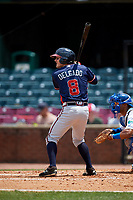 Rome Braves shortstop Riley Delgado (8) at bat in front of catcher MJ Melendez (7) during a game against the Lexington Legends on May 23, 2018 at Whitaker Bank Ballpark in Lexington, Kentucky.  Rome defeated Lexington 4-1.  (Mike Janes/Four Seam Images)