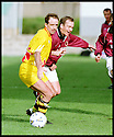 3rd October 98      .Copyright Pic : James Stewart   .STENHOUSEMUIR V ALBION ROVERS.STENNY'S GRAEME ARMSTRONG IS EDGED OF THE BALL BY MARTIN MELVIN......Payments to :-.James Stewart Photo Agency, Stewart House, Stewart Road, Falkirk. FK2 7AS      Vat Reg No. 607 6932 25.Office : 01324 630007        Mobile : 0421 416997.If you require further information then contact Jim Stewart on any of the numbers above.........