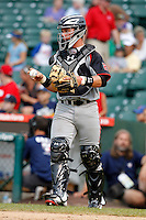 Catcher Stryker Trahan #22 during the Under Armour All-American Game at Wrigley Field on August 13, 2011 in Chicago, Illinois.  (Mike Janes/Four Seam Images)