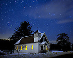 Celestial Chapel - The West Whately Chapel is seen under a starry sky in early morning of Friday, January 23, 2009. The  building has served as a center for the community for 113 years.