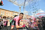 Race leader Maglia Rosa Valerio Conti (ITA) UAE Team Emirates at sign on before Stage 11 of the 2019 Giro d'Italia, running 221km from Carpi to Novi Ligure, Italy. 22nd May 2019<br /> Picture: Massimo Paolone/LaPresse | Cyclefile<br /> <br /> All photos usage must carry mandatory copyright credit (© Cyclefile | Massimo Paolone/LaPresse)