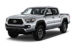 2018 Toyota Tacoma TRD Off Road Double Cab 4 Door Pick Up angular front stock photos of front three quarter view