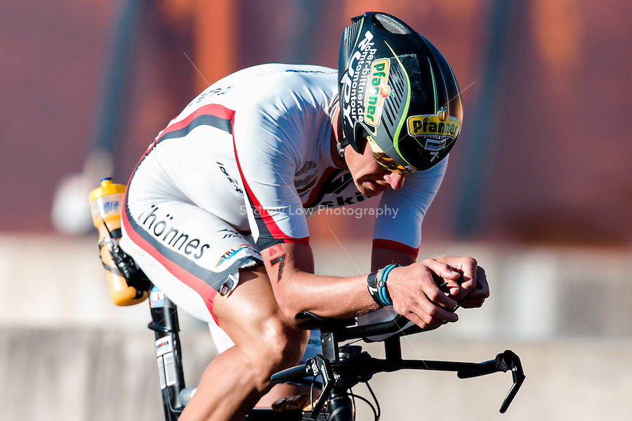 MELBOURNE, March 21, 2015 - Per BITINER (GER) #7 on the bike leg of the 2015 IRONMAN Asia-Pacific Championship in Melbourne, Australia on Sunday March 21, 2015. (Photo Sydney Low / sydlow.com)