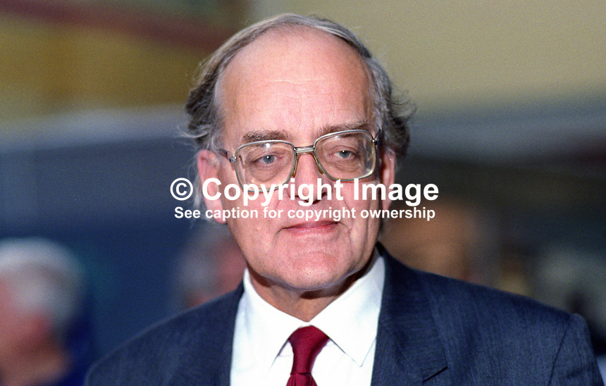 Peter Hardy, MP, Labour Party, UK, taken annual conference October 1992. 19921027PH.<br /> <br /> Copyright Image from Victor Patterson,<br /> 54 Dorchester Park, <br /> Belfast, UK, BT9 <br /> <br /> t1: +44 28 9066 1296 (from Rep of Ireland 048 90661296)<br /> t2: +44 28 9002 2446 (from Rep of Ireland 048 9002 2446)<br /> <br /> m: +44 7802 353836<br /> <br /> e: victorpatterson@me.com<br /> www.victorpatterson.com<br /> <br /> Please see my Terms and Conditions of Use at www.victorpatterson.com. It is IMPORTANT that you familiarise yourself with them.<br /> <br /> Images used on the Internet must be visibly watermarked i.e. &copy; Victor Patterson<br /> within the body of the image and copyright metadata must not be deleted. Images <br /> used on the Internet have a size restriction of 4kbs and will be chargeable at current<br />  NUJ rates unless agreed otherwise.<br /> <br /> This image is only available for the use of the download recipient i.e. television station, newspaper, magazine, book publisher, etc, and must not be passed on to any third <br /> party. It is also downloaded on condition that each and every usage is notified within 7 days to victorpatterson@me.com<br /> <br /> The right of Victor Patterson to be identified as the author is asserted in accordance with The Copyright Designs And Patents Act (1988). All moral rights are asserted.