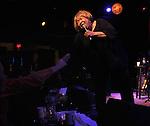 Mavis Staples, backed by Guitarist, Rick Holstrom, Bassist, Jeff Turmes, and drummer, Stephen Hodges, performing at the Helsinki Hudson, in Hudson, NY, on Sunday, February 22, 2015. Photo by Jim Peppler. Copyright Jim Peppler 2015.