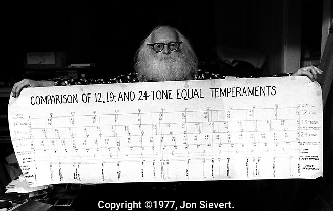 "Ivor Darreg, the leading proponent of and composer of microtonal or ""xenharmonic"" music. He also created a series of experimental musical instruments, Nov 1977"