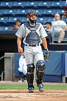 Hudson Valley Renegades catcher Luke Maile (21) during game against the Staten Island Yankees at Richmond County Bank Ballpark at St.George on June 24, 2012 in Staten Island, NY.  Staten Island defeated Hudson Valley 9-1.  Tomasso DeRosa/Four Seam Images